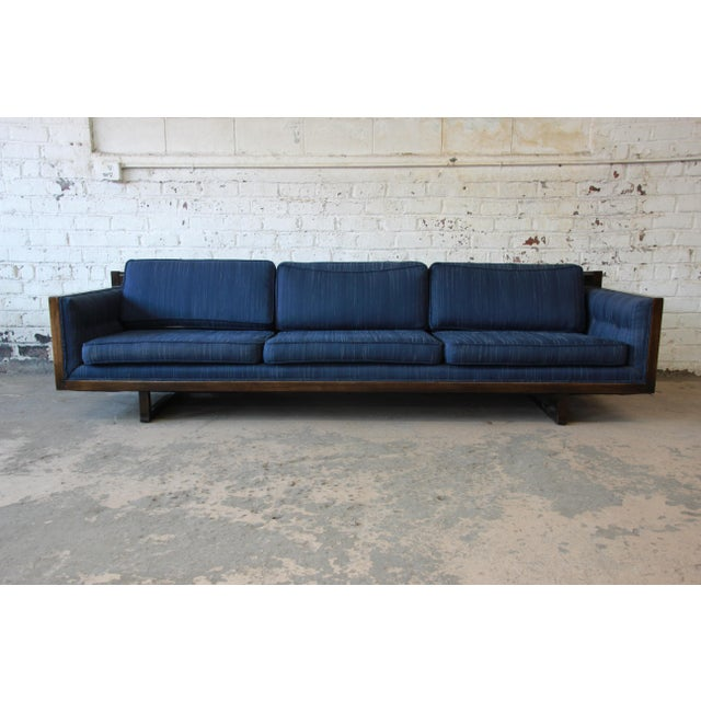 Milo Baughman Style Mid-Century Modern Floating Sofa For Sale In South Bend - Image 6 of 11