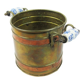 Vintage Copper/Brass Cache Pot With Delft Handles For Sale