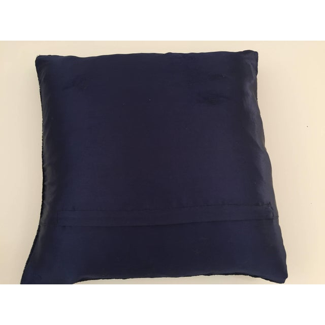 Mid Century Velvet Blue Silk Pillow Embroidered With Gold Peacock For Sale In Los Angeles - Image 6 of 11
