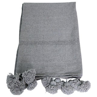 Moroccan Gray Wool PomPom Blanket For Sale