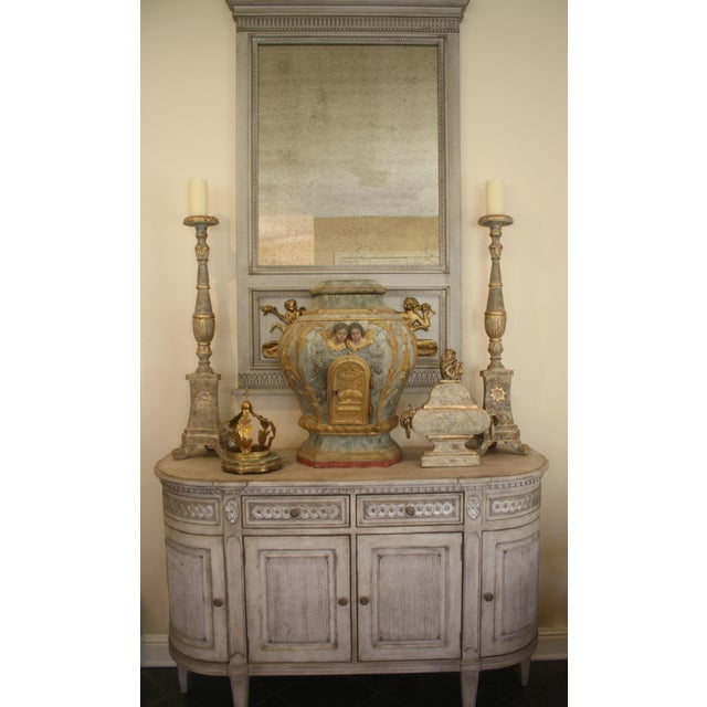 Greige Swedish Gustavian Enfilade Buffet For Sale - Image 8 of 9