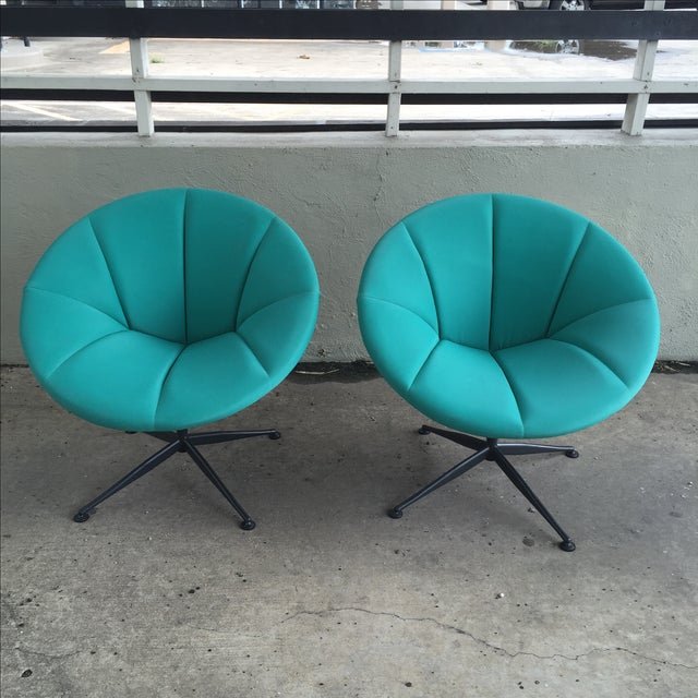 Turquoise Saucer Swivel Chairs - A Pair - Image 4 of 9