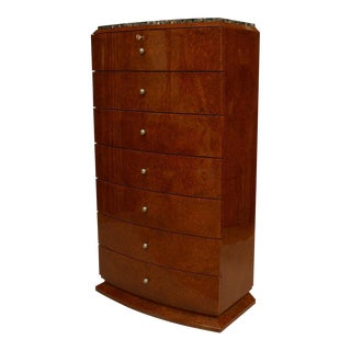 Art Deco French Amboyna Semaniere (7 Drawer Chest) For Sale