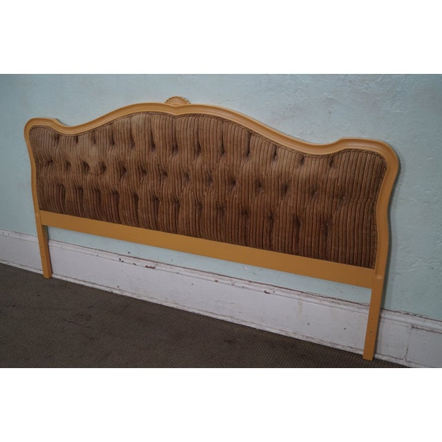 Vintage French Louis XV Style Tufted Upholstered King Headboard For Sale - Image 10 of 10