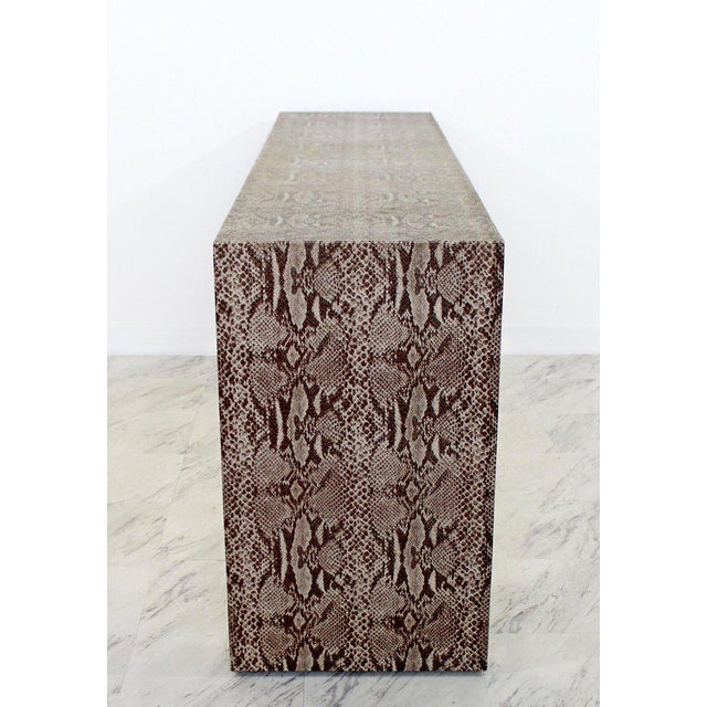 Animal Skin Mid-Century Modern Snakeskin Parsons Console Table 1970s For Sale - Image 7 of 9