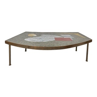Large Brass and Mosaic Coffee Table by Berthold Müller 1950s For Sale