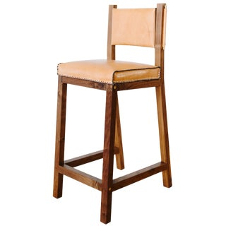 Khwarizmi Leather and Walnut Counter Height Stool For Sale