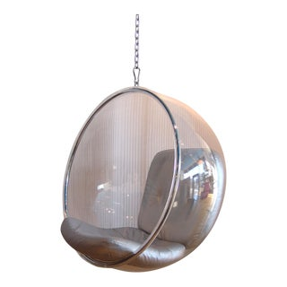 Eero Aarnio Original Hanging Bubble Chair Silver Leather Cushion For Sale