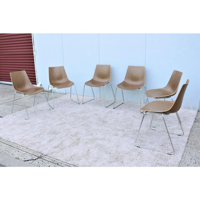 2000 - 2009 Mid-Century Modern Style Allermuir Curve Dining or Stacking Side Chairs- Set of 6 For Sale - Image 5 of 13