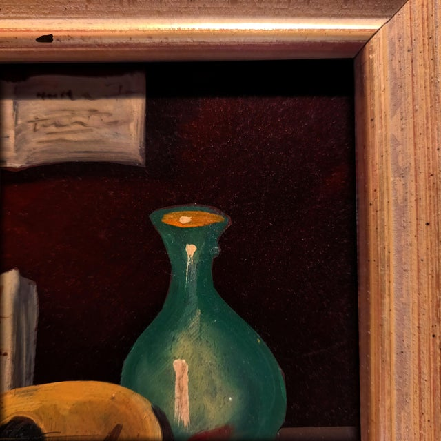20th Century Gold Cerused Wood Framed Cryptically Composed Still Life Oil Painting on Board For Sale - Image 10 of 13