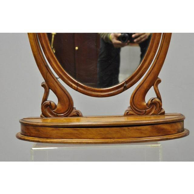 Antique Cheval Style Walnut Oval Mirror Lift Top Shaving Vanity Mirror For Sale In Philadelphia - Image 6 of 12