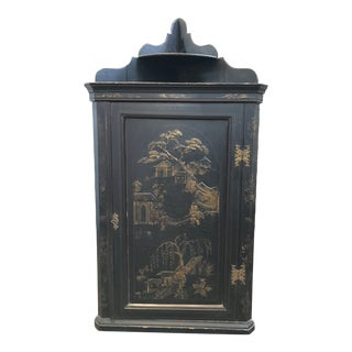 Ebonized English Chinoiserie Corner Cabinet For Sale