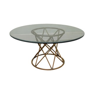 """McGuire of San Francisco 60"""" Round Glass Top Rattan Bamboo Base Dining Table"""