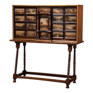 19th Century Spanish Walnut Bargueño on Stand With Hand Painted Landscape Scenes For Sale