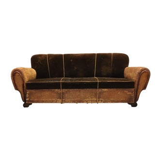 1930's French Art Deco Leather & Mohair Club Sofa