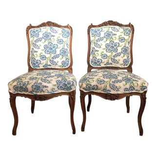 Louis XV Style Walnut Side Chairs - A Pair For Sale