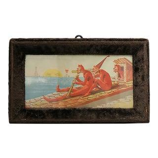 Antique French Velvet Framed Print For Sale