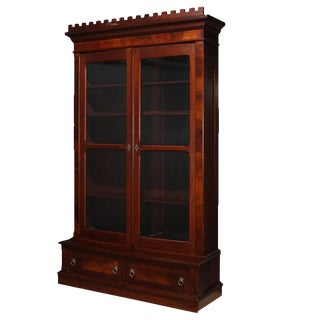 Antique Burl Walnut Step-Back Enclosed Bookcase, Circa 1890 For Sale