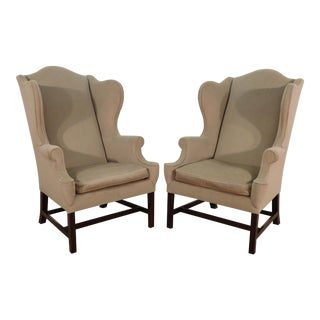 Kindel Furniture Wing Back Winterthur Mahogany Easy Upholstered Chairs- a Pair For Sale