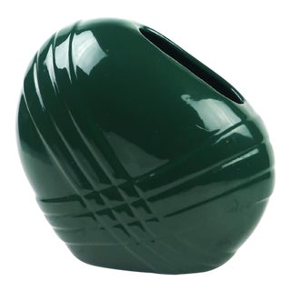 1980s Contemporary Asymmetrical Haeger Green Ceramic Vase For Sale