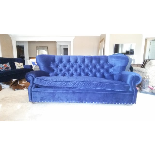 Restoration Hardware Churchill Blue Velvet Sofa - Image 2 of 6