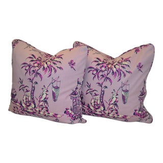 Bailey & Griffin Pink Chintz Pillows - A Pair For Sale