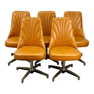 Vintage Chromcraft Mid Century Modern Swivel Dining Chairs - Set of 5 For Sale