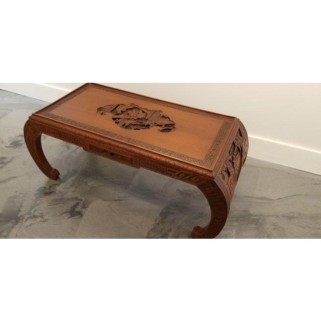 Asian Carved Chinese Coffee Table For Sale - Image 3 of 10