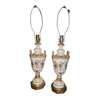 Antique Porcelain Hand Painted With Violets Table Lamps - a Pair For Sale