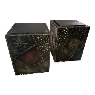 Signed Paul Evans Sculpted Steel Side Tables - Pair For Sale
