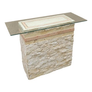 Vintage Postmodern Tessellated Stone Travertine Petite Console Table For Sale