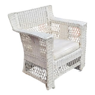 Fine Quality Antique Victorian Early 20th Century Wicker Armchair C1900 For Sale