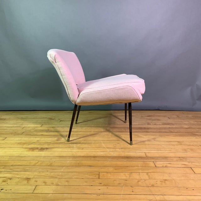 Italian Italian 1950s Boudoir Chair, Pink Felted Wool For Sale - Image 3 of 11