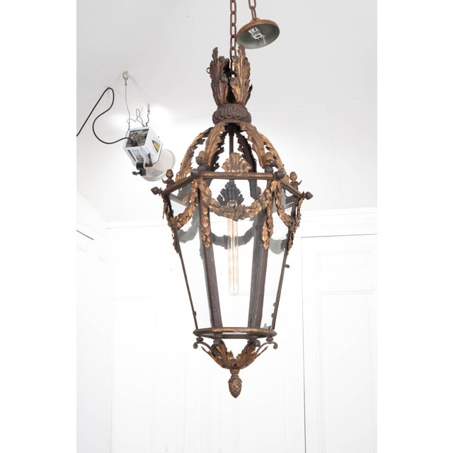 Mid 19th Century French 19th Century Iron and Gilt-Brass Single-Light Lantern For Sale - Image 5 of 13