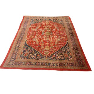 Antique Persian Hand Knotted Wool Rug - 8′12″ × 11′10″