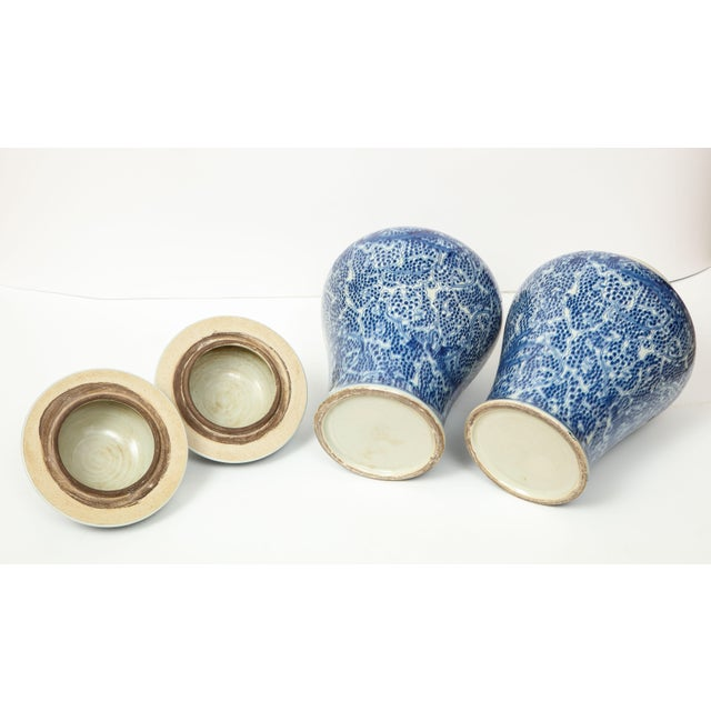Ceramic Chinese Blue and White Jars with Lids - A Pair For Sale - Image 7 of 13
