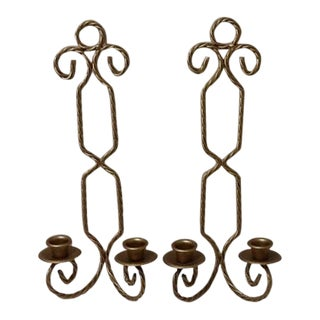 Vintage Gold Twisted Rope Double Arm Wall Sconces - a Pair For Sale