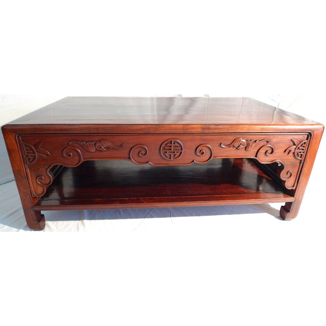 Chinese Early 20th Century Chinese Carved Rosewood Long Low Opium Coffee Table For Sale - Image 3 of 13