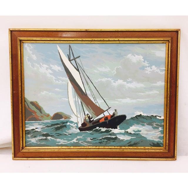 Vintage Seascape Painting in Gilt Trim Frame For Sale - Image 5 of 5