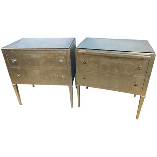 Pair of Silver Gilt Commodes Chest of Drawers or Nightstands Mid-Century Modern For Sale