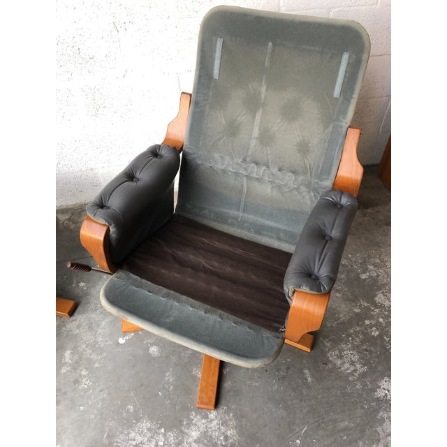 Vintage Mid Century Modern Scandinavian Lounge Chair & Ottoman For Sale - Image 12 of 13
