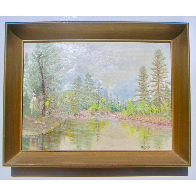 """""""Feather River"""" by M.G. Burnside [signed l.r.], oil on canvas board, 1967. Painting size 16 x 12"""" plus coved wood frame...."""