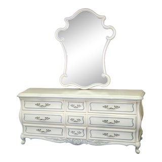 Vintage French Provincial Louis XV Style Dresser and Mirror - 2 Pieces For Sale