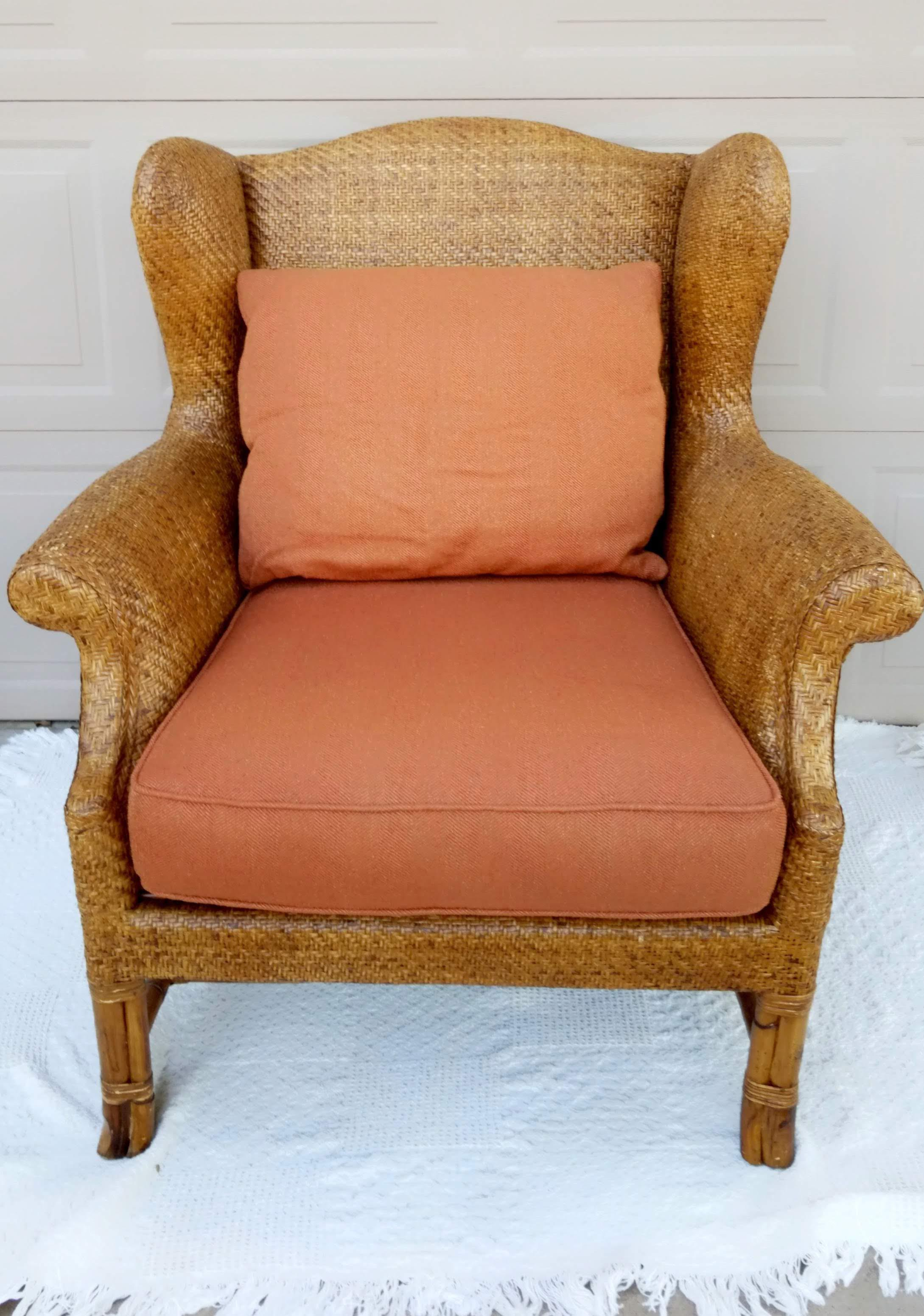 Nice Part Of Bakeru0027s Milling Road Collection A Gorgeous Rattan Wingback With  Upholstered Seat And Back Cushion