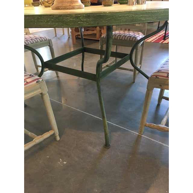 Spanish Spanish Round Green Metal Dining Table For Sale - Image 3 of 4