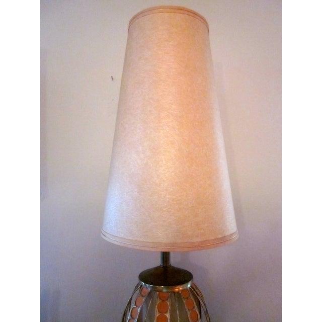 Mid Century Modern Orange Dot Brass Lamp - Image 6 of 9