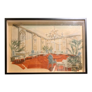 """1960s Original William Simmons Framed Hand-Drawn Watercolor Rendering """"The Salón"""" For Sale"""