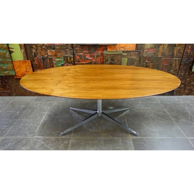 Metal Florence Knoll Walnut on Chrome Base Oval Dining / Conference Table For Sale - Image 7 of 7