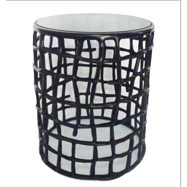 Round Metal Side Nesting Table & Glass Top - 2 - Image 4 of 5