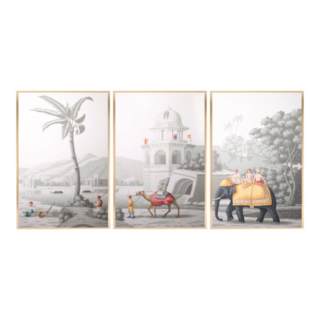 """Jardins en Fleur """"Idyllic Scenes of Ancient India"""" Hand-Painted Grisaille Triptych – 3 Pieces For Sale"""